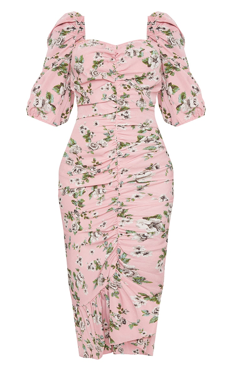 Dusty Pink Floral Ruched Front Frill Hem Midi Dress 5