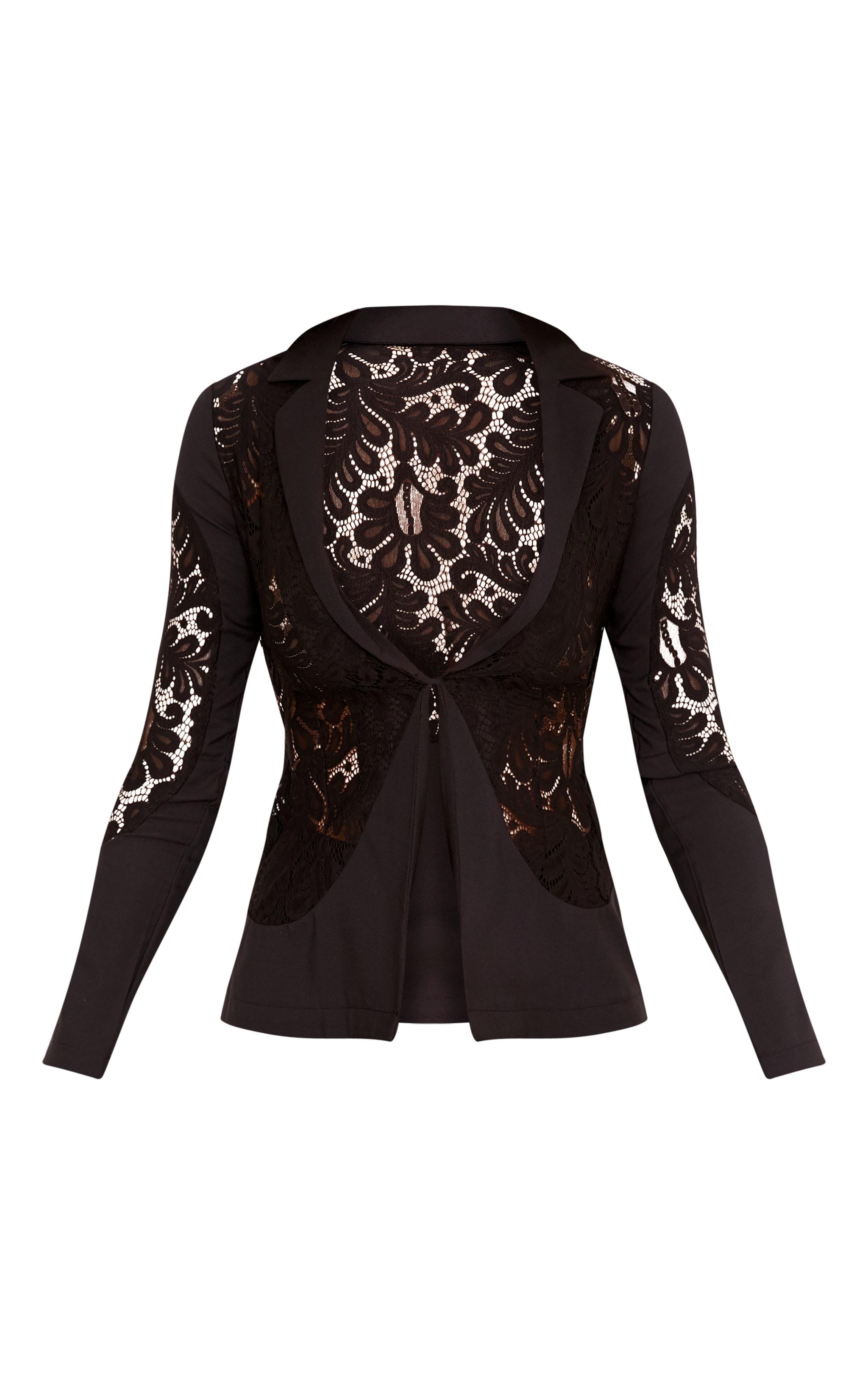 Mikaylah Black Lace Insert Detail Suit Jacket 3