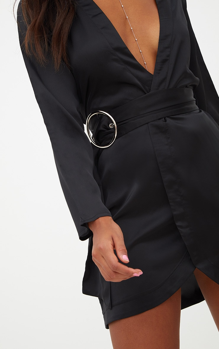 Black Satin Belted Shirt Dress 5