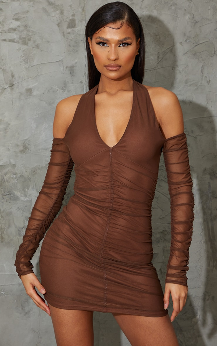 Chocolate Halterneck Long Sleeve Mesh Ruched Bodycon Dress 1
