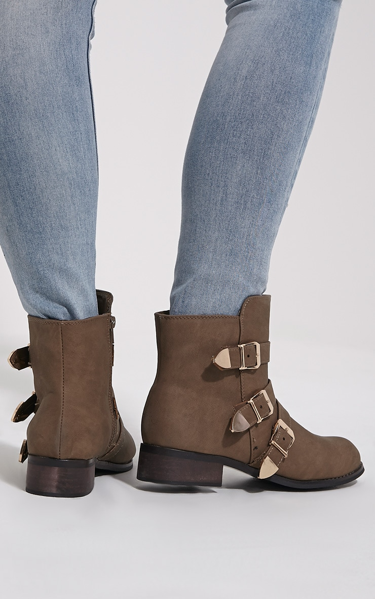 Martha Taupe Three Buckle Ankle Boots 2