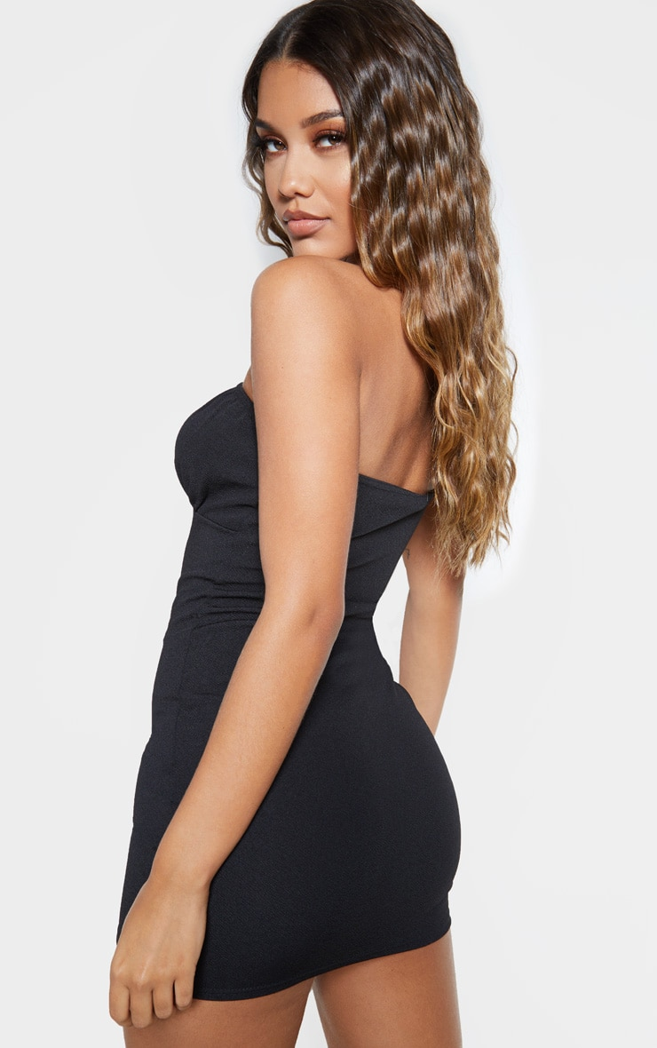 Black Bandeau Hook And Eye Bodycon Dress 2