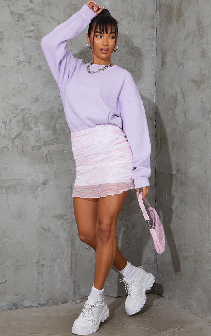 Pink Zebra Print Mesh Lettuce Hem Mini Skirt