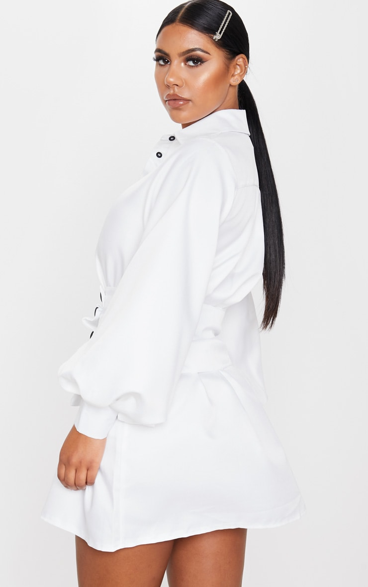 White Button Waist Detail Shirt Dress 3