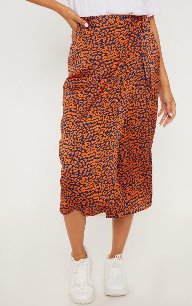 Navy Leopard Print Wrap Midi Skirt 2