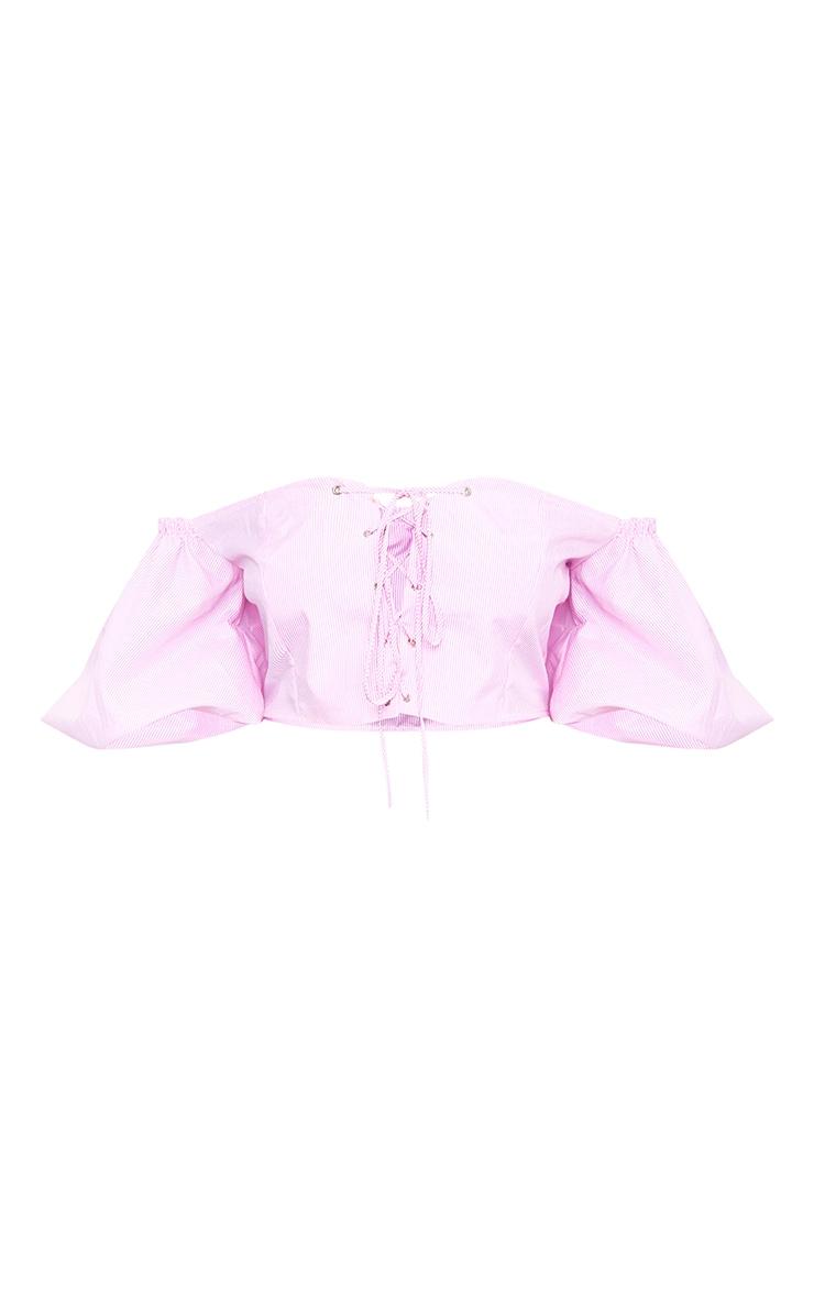 Pink Lace Up Oversized Sleeve Crop Bardot Shirt 3