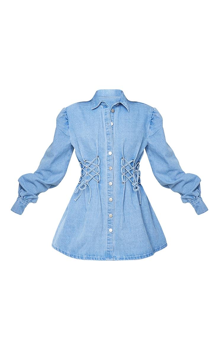 Light Blue Wash Lace Front Long Sleeve Denim Dress 5