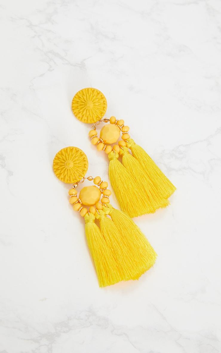 Yellow Acrylic Bead Tassel Earring 4