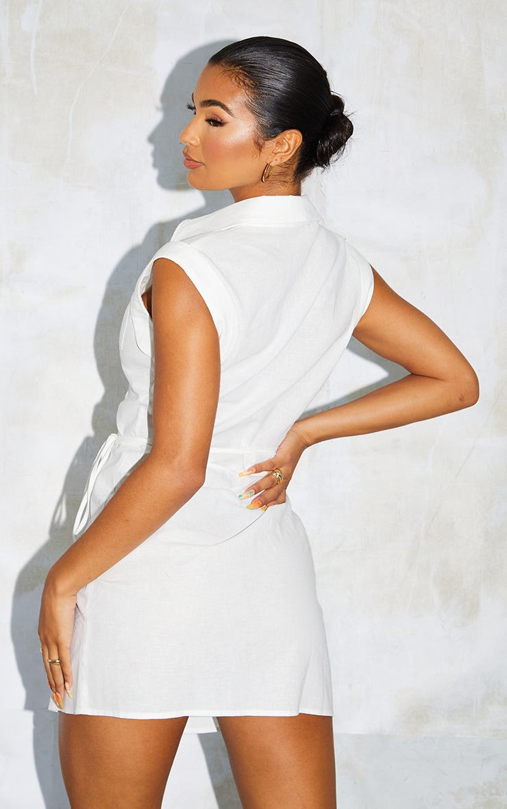 White Linen Polo Collar Wrap Tie Sleeveless Shirt Dress 2