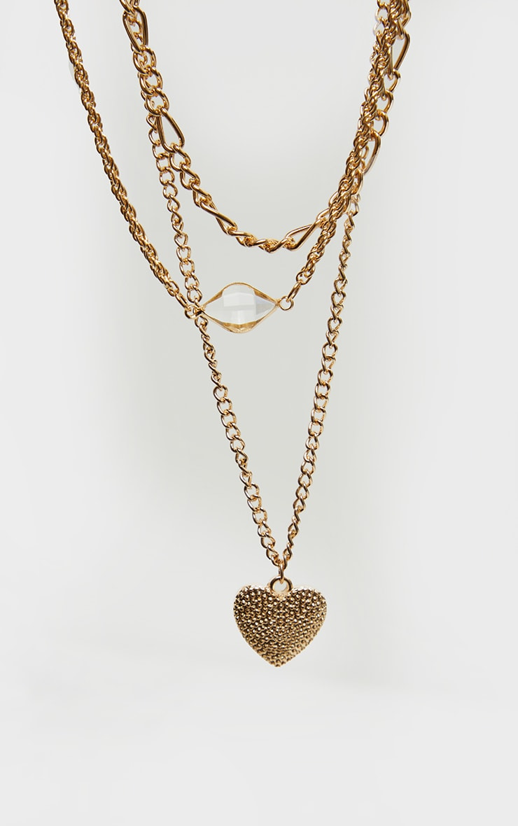 Gold Heart Multi Layered Necklace 3