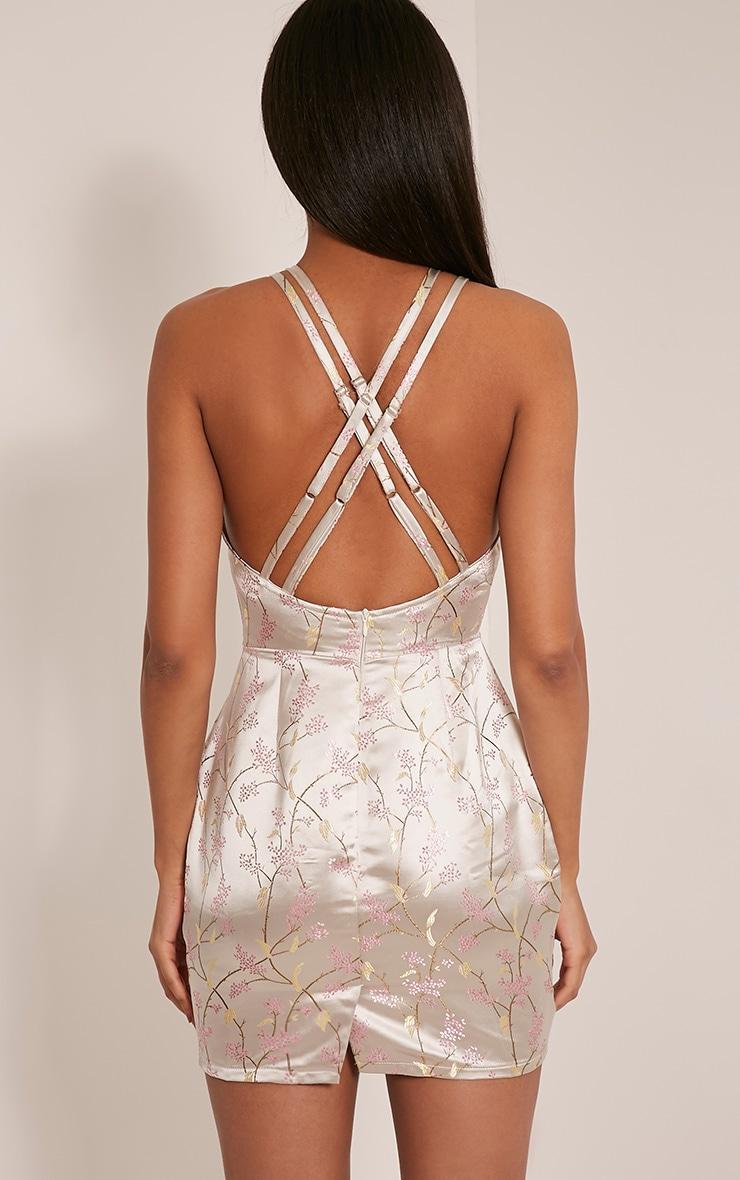 Lamara Champagne Embroidered Satin Cross Back Dress 2