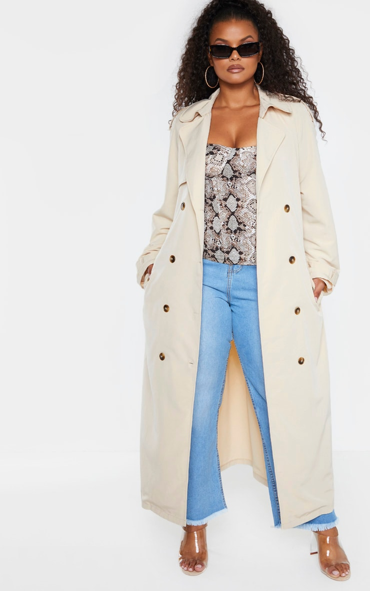 Plus Stone Oversized Button Down Trench Coat 1