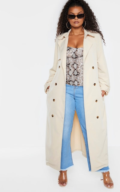 Plus Stone Oversized Button Down Trench Coat
