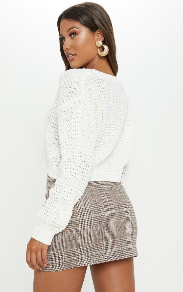 Cream Cropped Fisherman Knit 2