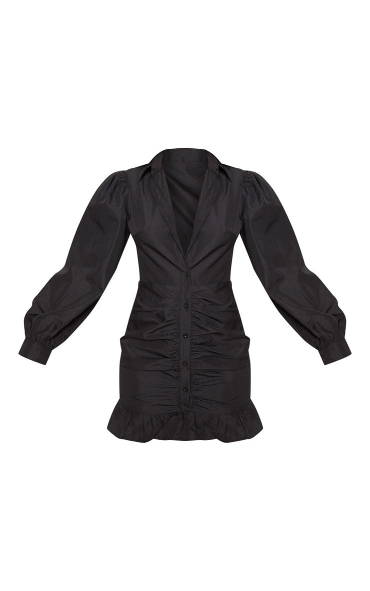 Black Ruched Front Frill Hem Shirt Dress 3