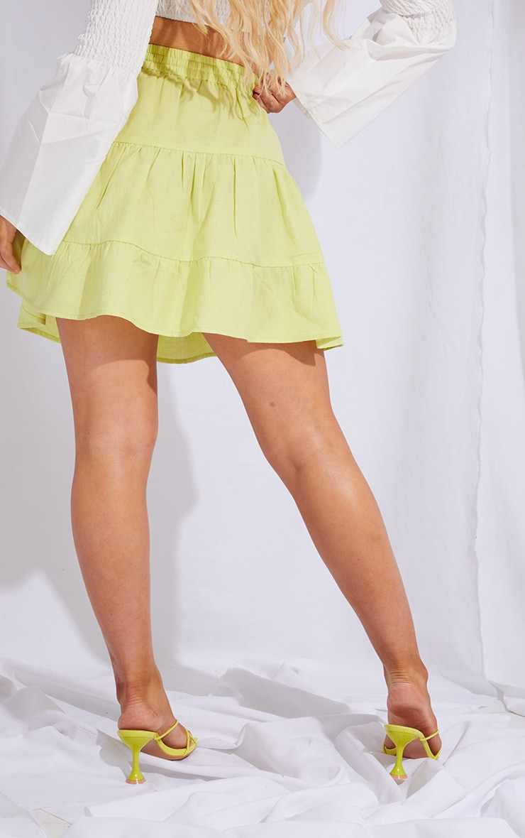 Pale Lime Cotton Drawstring Tiered Skater Skirt 3