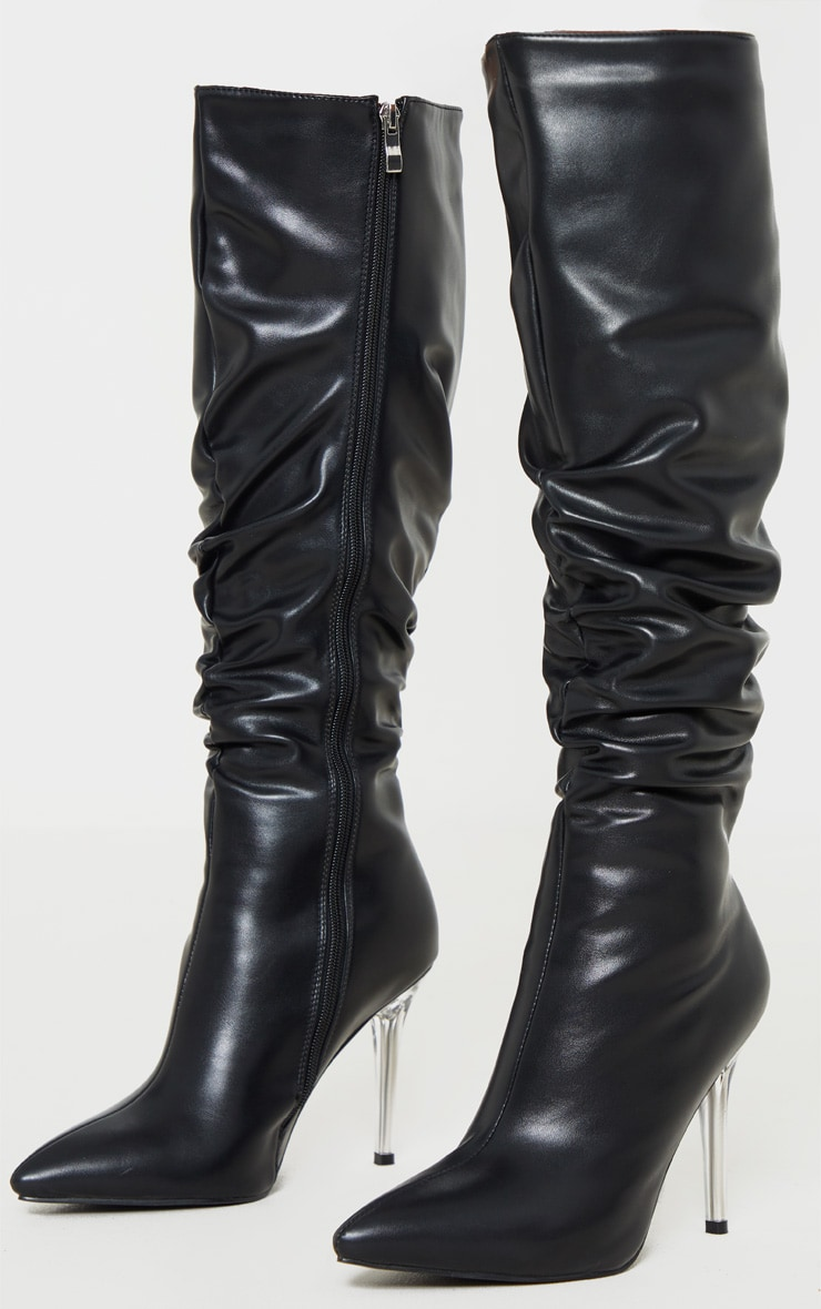 Black Knee High Clear Heel Square Toe Slouch Boot 3
