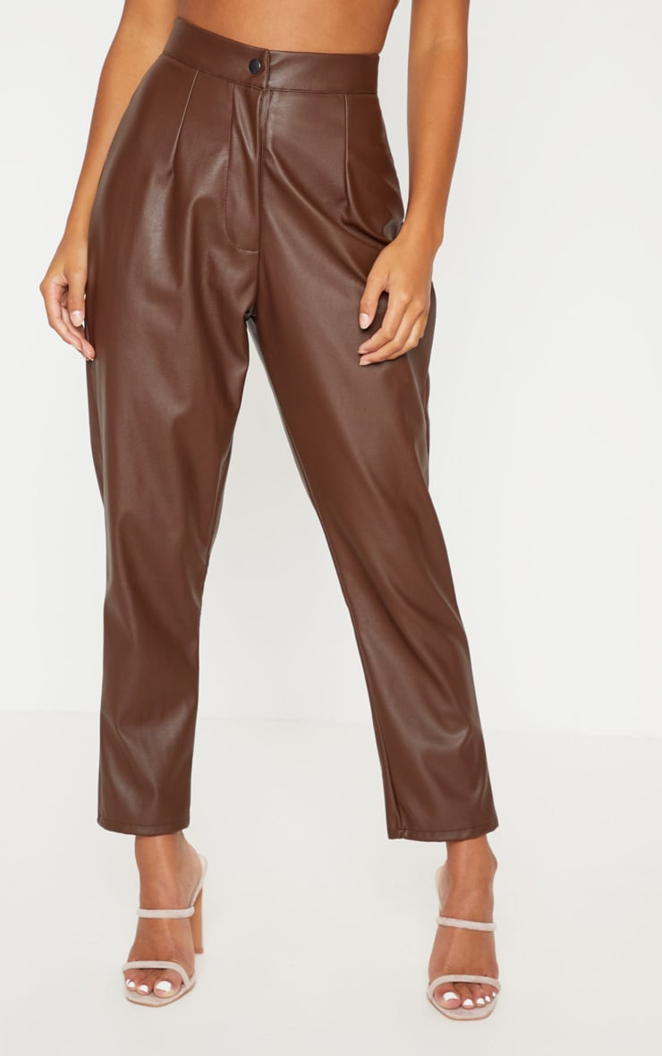 Petite Chocolate Faux Leather Slim Leg Trousers 2