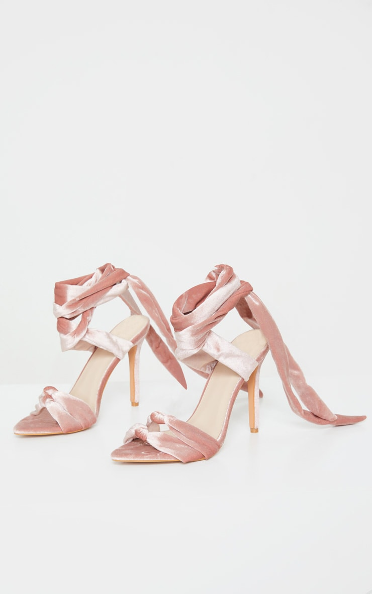 Blush Knot Tie Ankle Strappy Point Toe Heeled Sandal 2