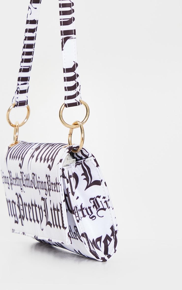 PRETTYLITTLETHING Monochrome Gothic Font 90s Shoulder Bag 3