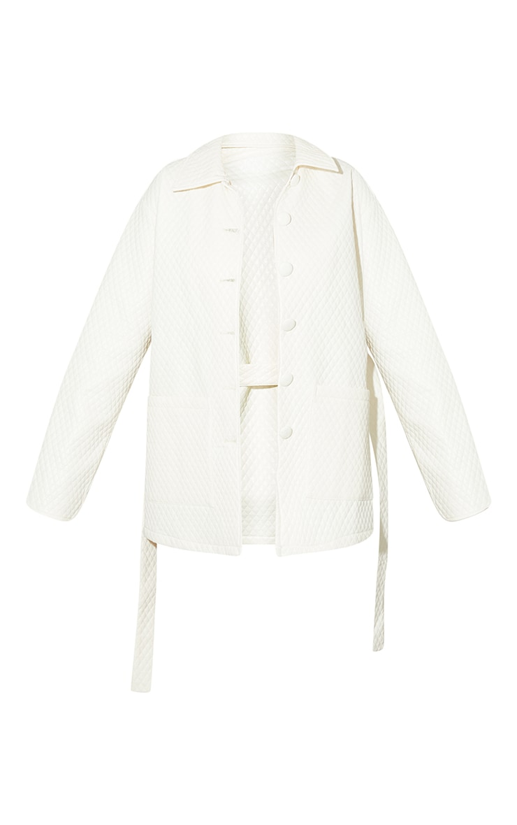 Cream PU Quilted Longline Belted Shacket 5