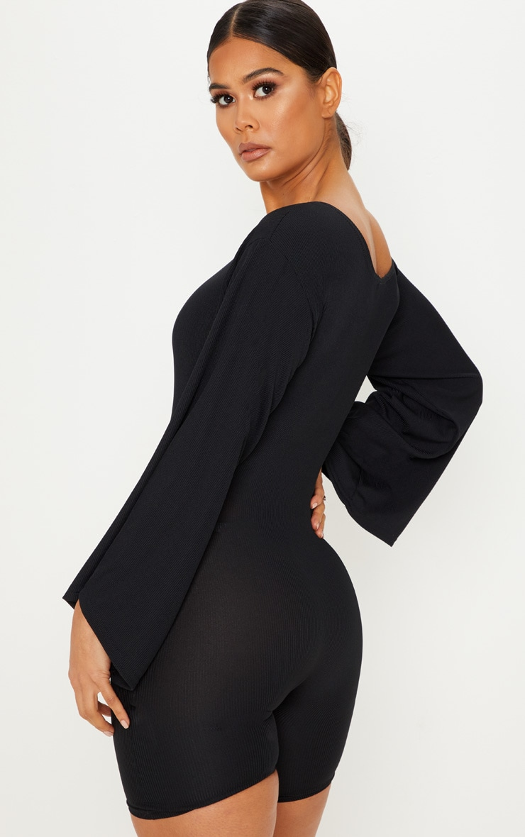 Black Ribbed Flare Sleeve Playsuit 2