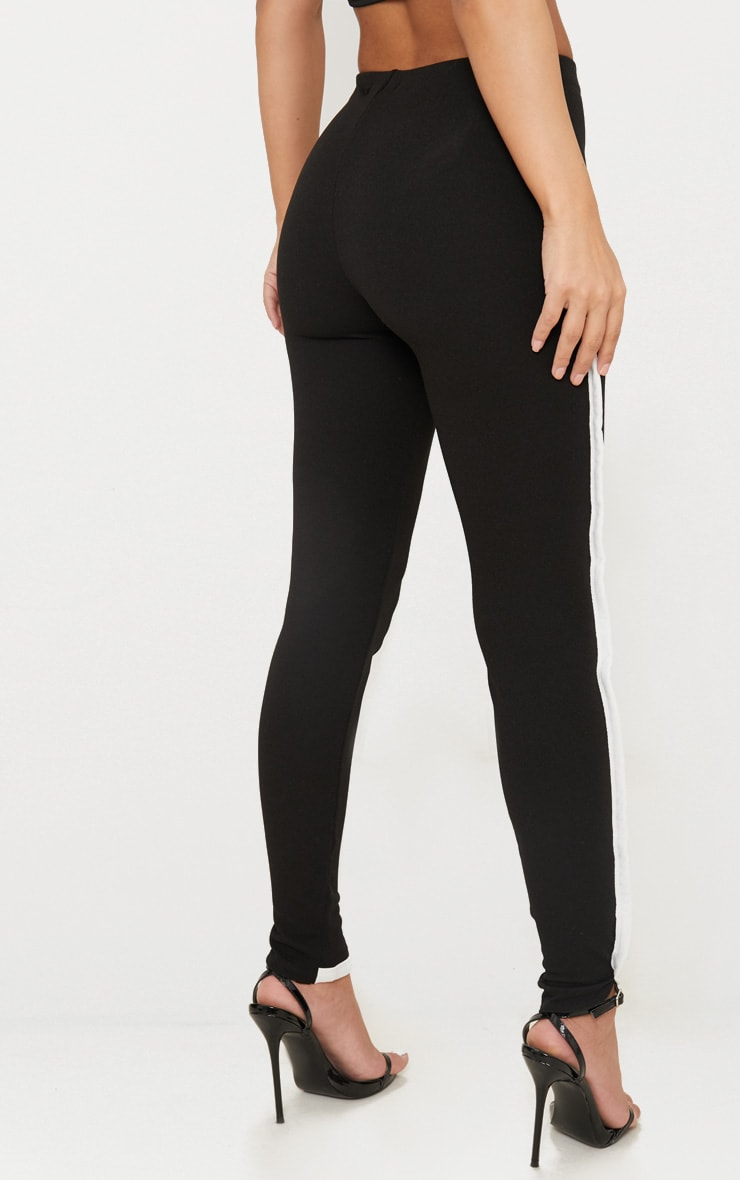 Petite Black Contrast Skinny Trousers 3