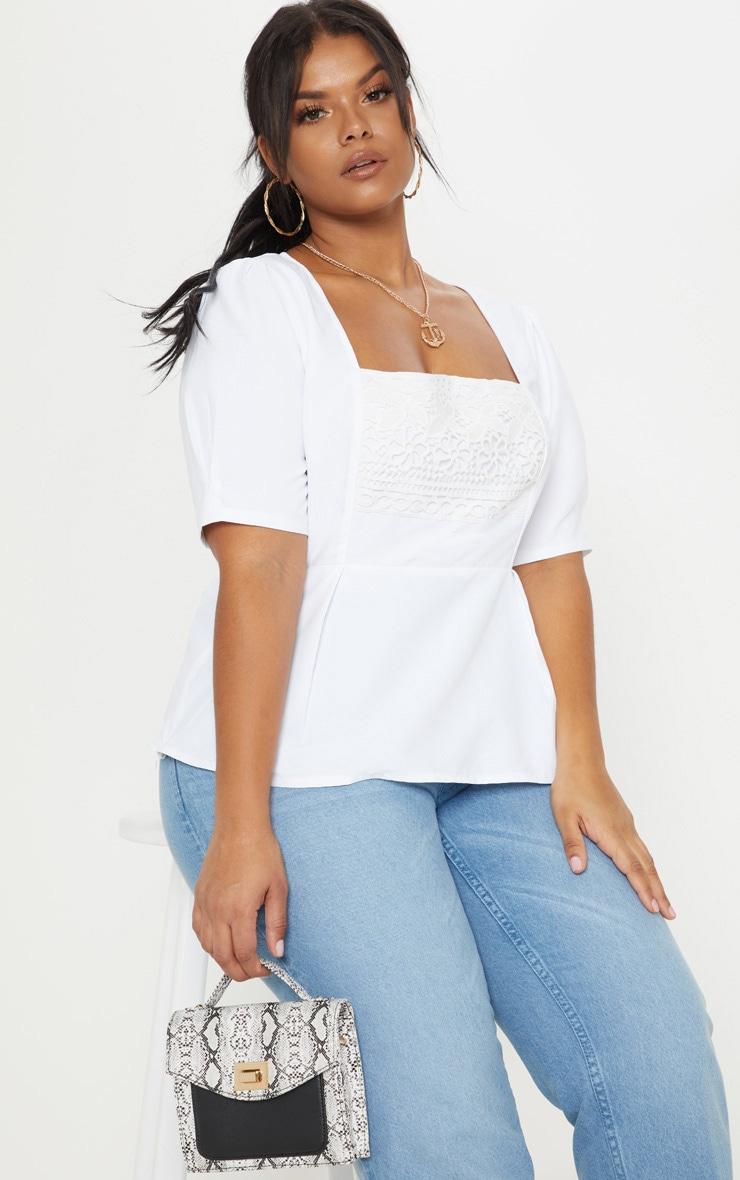 Plus White Crochet Detail Short Sleeve Top 1