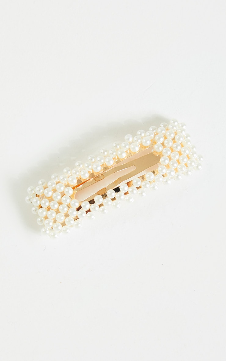 White Pearl Rectangle Hair Slide 2