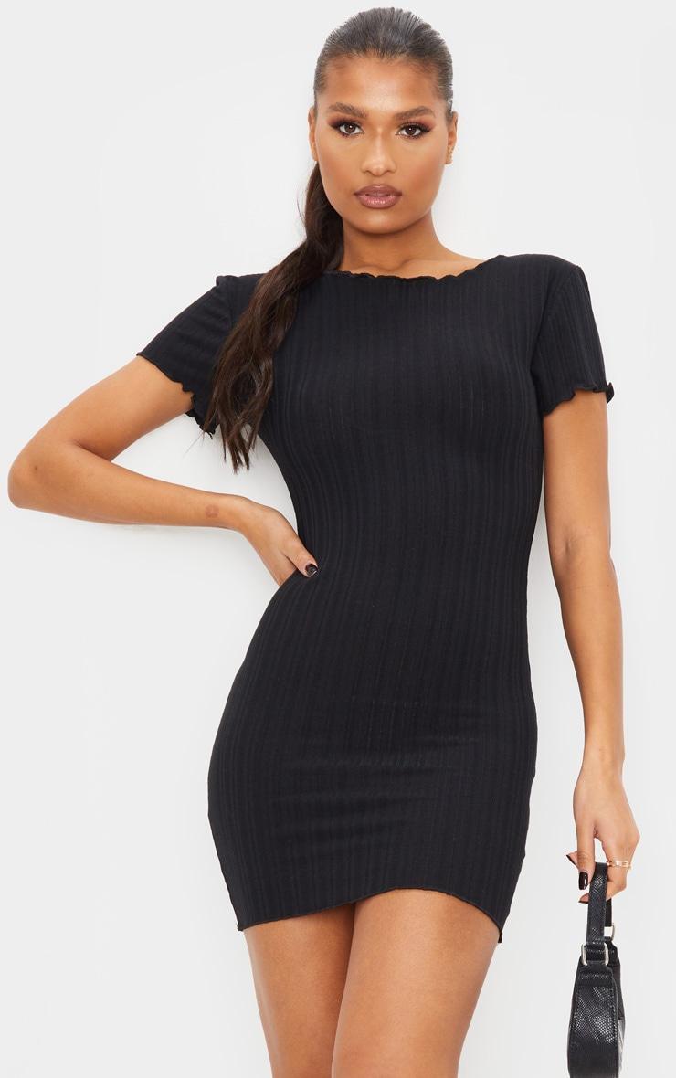 Black Frill Edge Scoop Back Short Sleeve Bodycon Dress 1