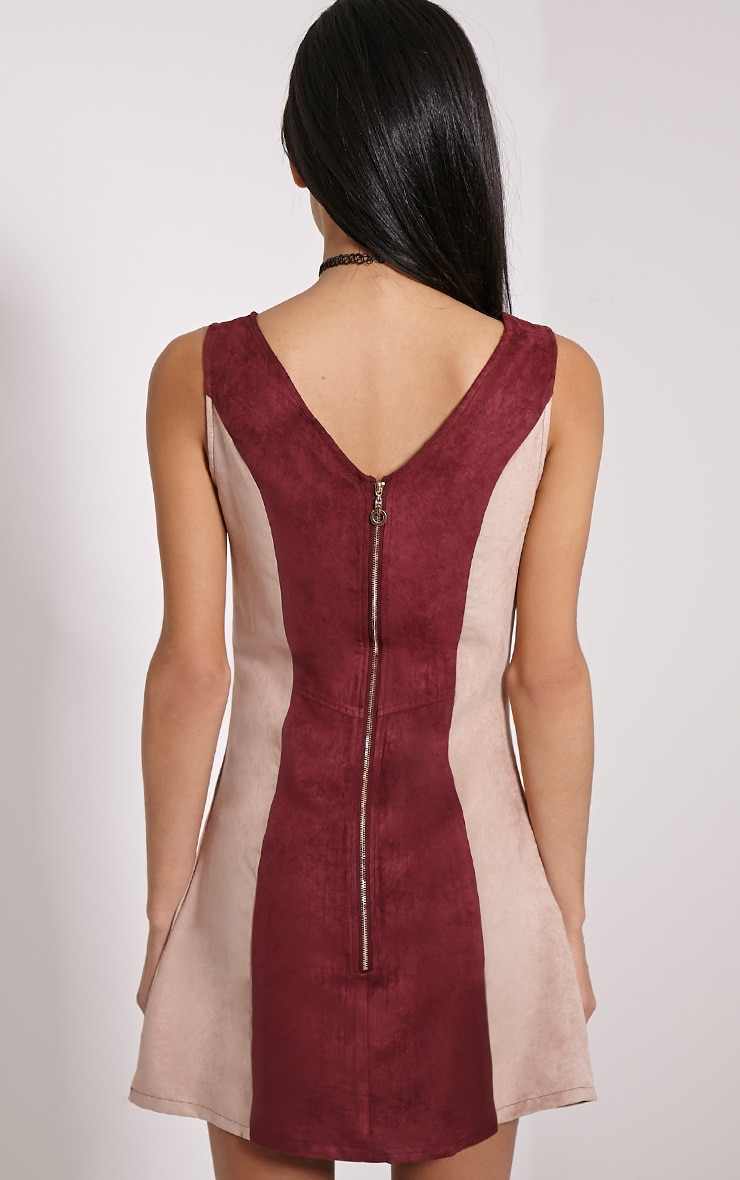 Austen Wine Colour Block Faux Suede Zip Back Dress 2