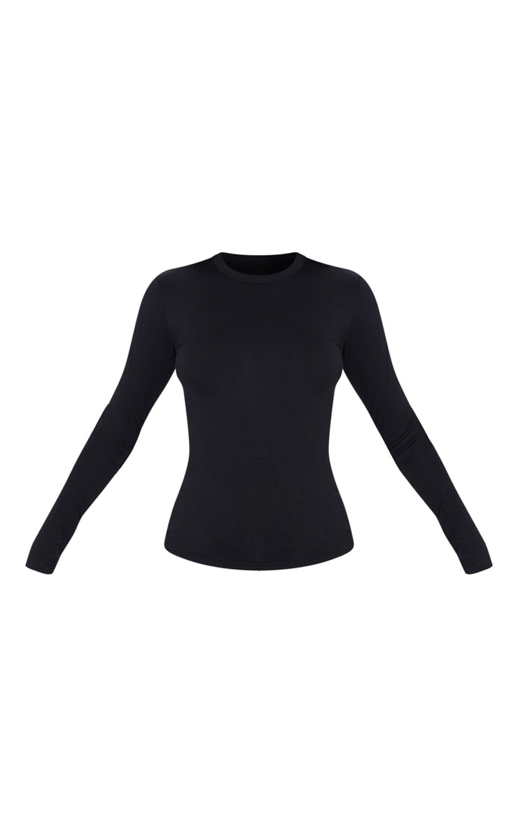 Black Basic 2 Pack Long Sleeve Fitted T Shirt 3