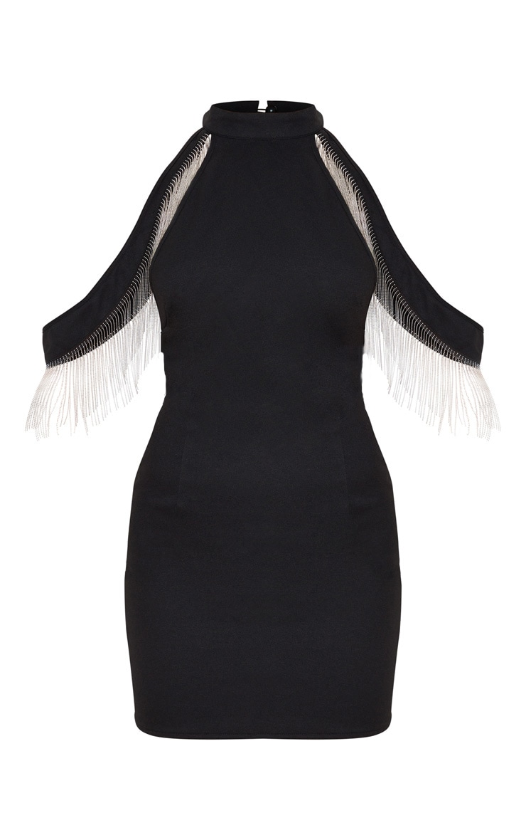 Black Tassel Strap Detail High Neck Bodycon Dress 3