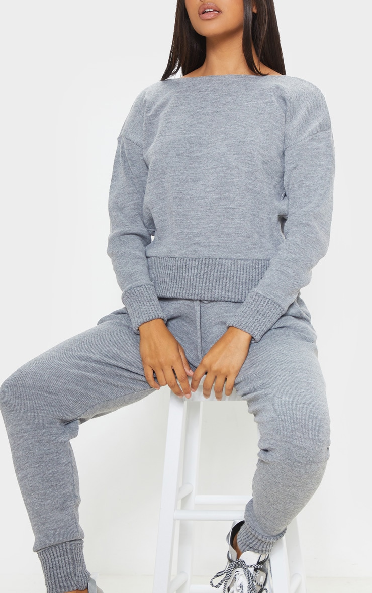 Dark Grey Jogger Knitted Lounge Set 5