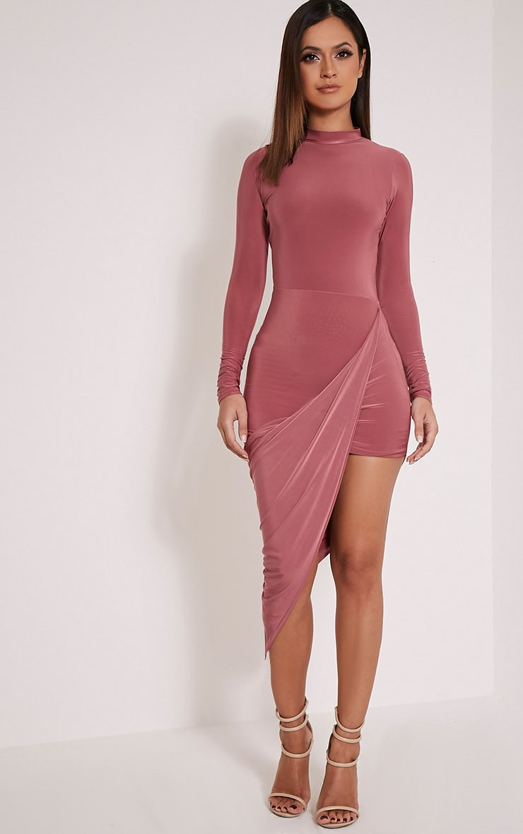 Petite Saffy Rose Long Sleeve Drape Dress 5