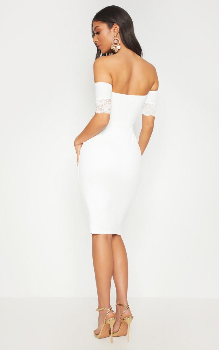White Lace Trim Bardot Midi Dress 2