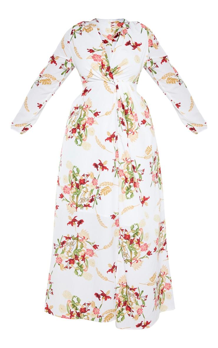 Plus White Oriental Twist Front Maxi Dress  3