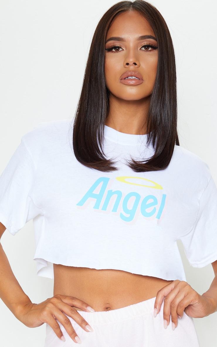 White Angel Slogan Crop T Shirt 5