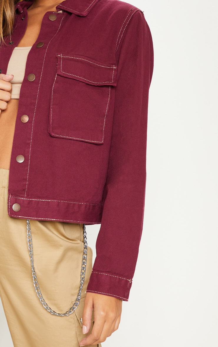 Burgundy Contrast Stitch Trucker Pocket Jacket 5