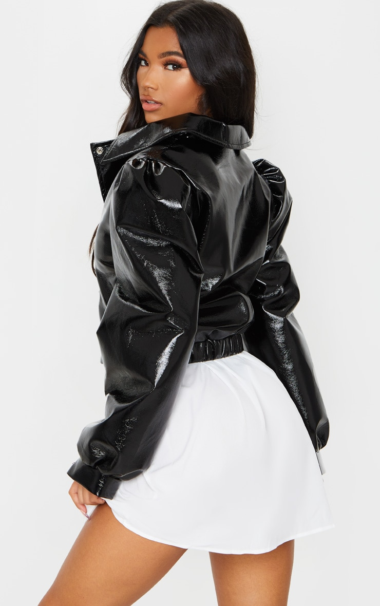 Black Vinyl Puff Sleeve Biker Jacket 2