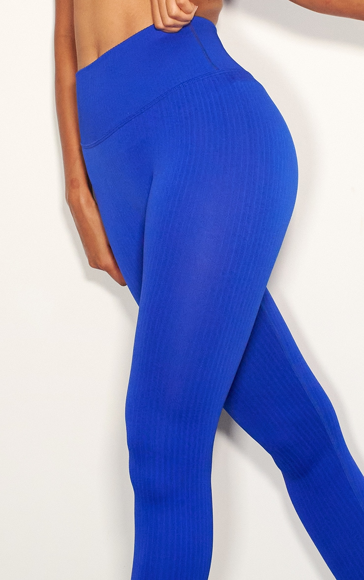 Cobalt Ribbed Seamless Sports Legging 4