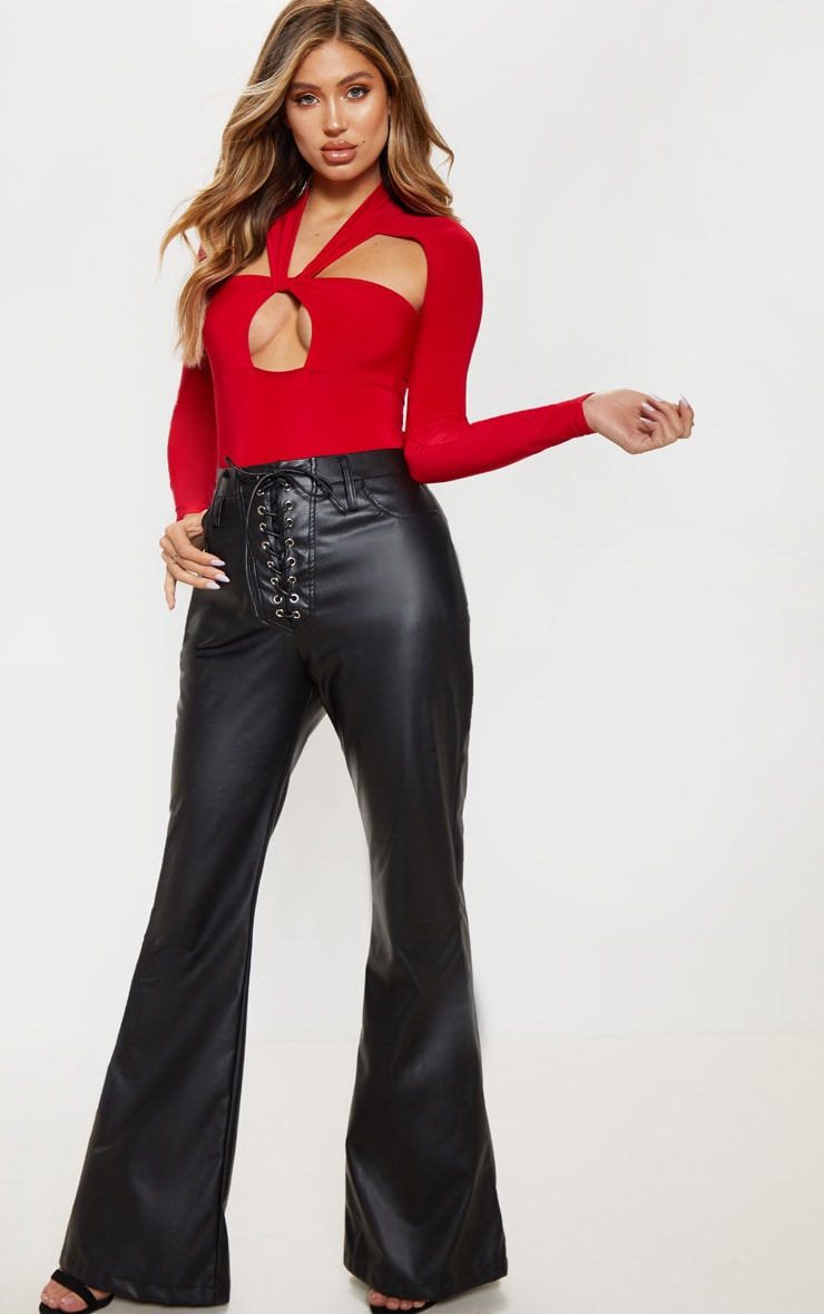 Red Twist Cut Out Long Sleeve Bodysuit 4
