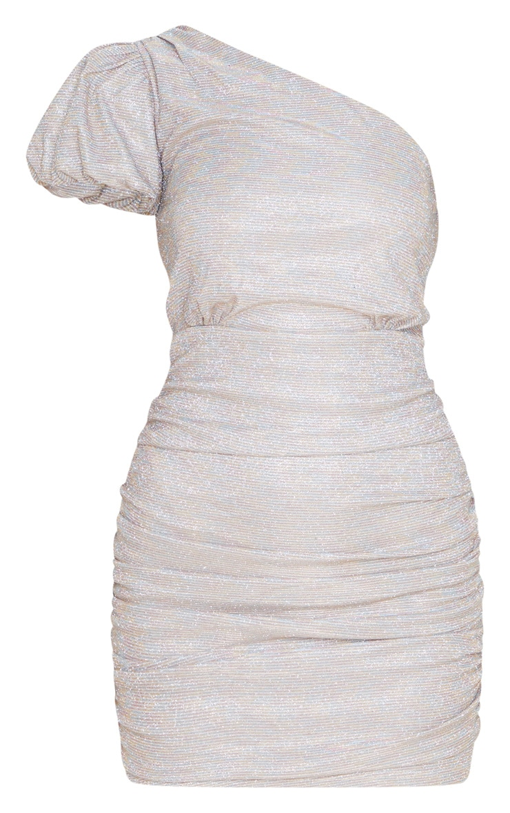 Multi Glitter Puff Sleeve Ruched Bodycon Dress 3