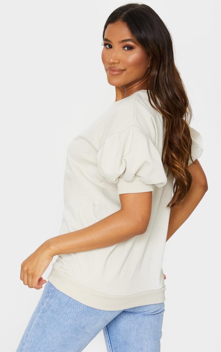 Oatmeal Pleated Short Sleeve Sweatshirt 2