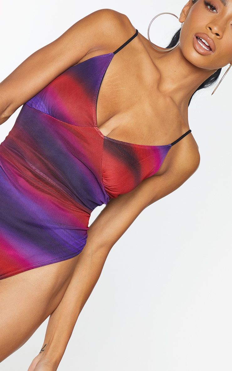 Red  Abstract Blur Print Cup Detail Bodysuit 4