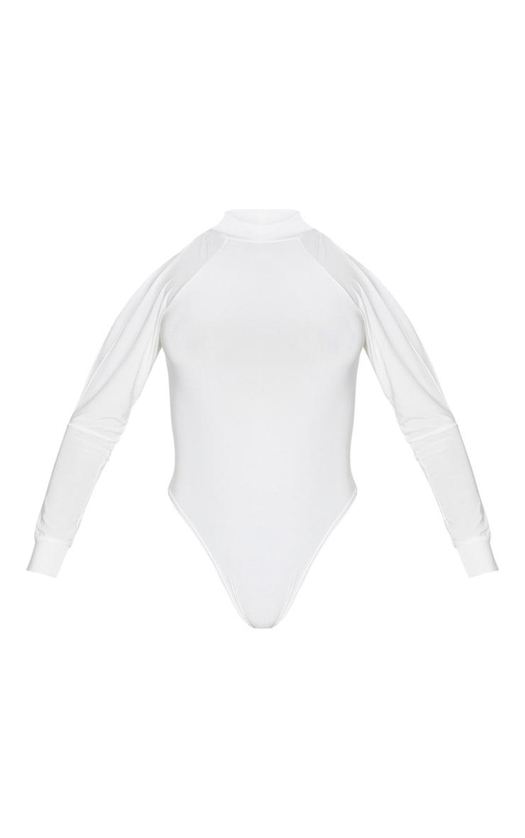White Slinky Split Long Sleeve Bodysuit 3
