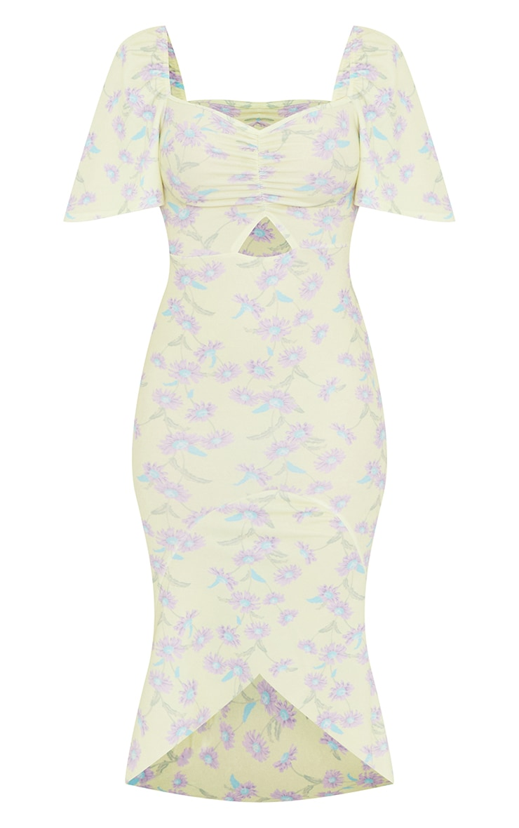 Yellow Floral Print Short Sleeve Ruched Bust Midi Dress 5