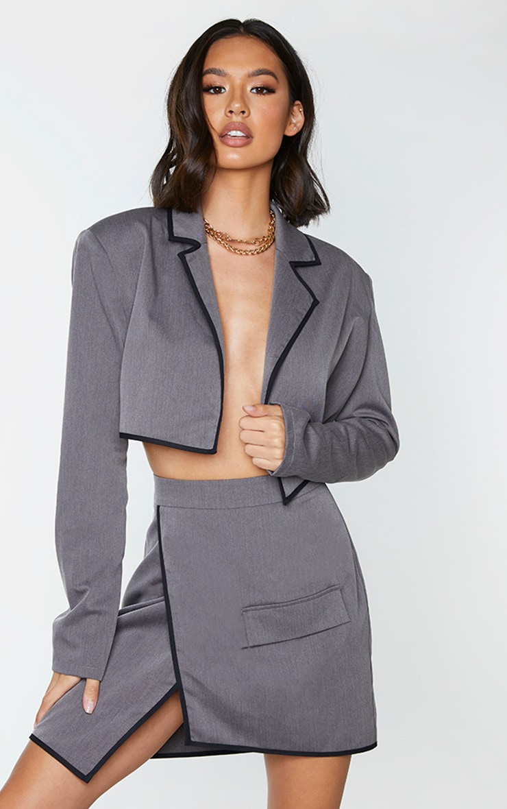 Charcoal Grey Woven Contrast Binding Oversized Cropped Blazer 1