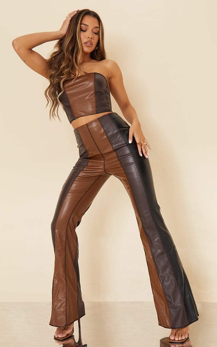 Chocolate Brown Faux Leather Panelled Bandeau Top 3