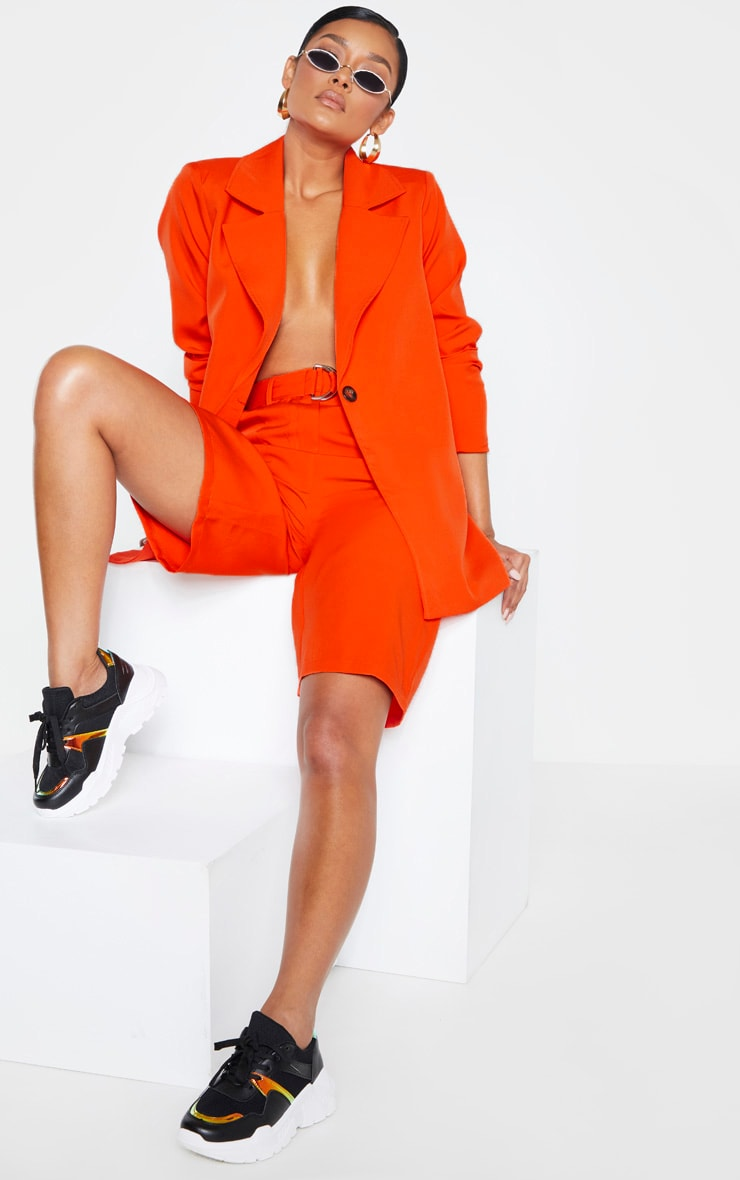 Bright Orange Woven Blazer    4